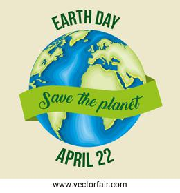 planet with ribbon to earth day celebration