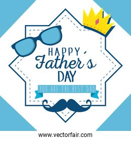 label star with crown and glasses to fathers day