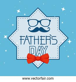 star card with glasses and mustache to fathers day