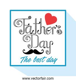 emblem with mustache and heart to fathers day