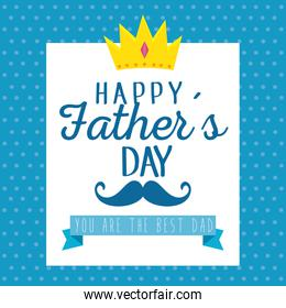 emblem with crown and mustache to fathers day