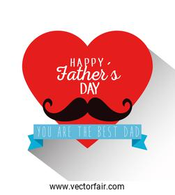 heart card with mustache and ribbon to fathers day