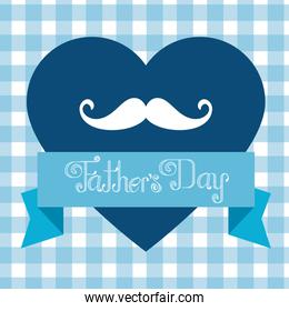 heart with mustache and ribbon to fathers day