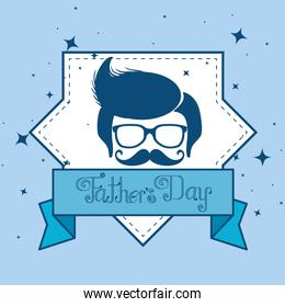 card with man and ribbon to fathers day celebration
