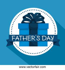label with present and ribbon bow to fathers day