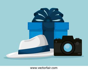 present with hat and camera to fathers day