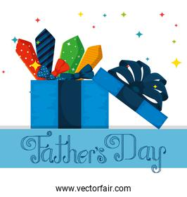 fathers day celebration with present and ties