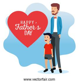 man with his daughter and fathers heart card