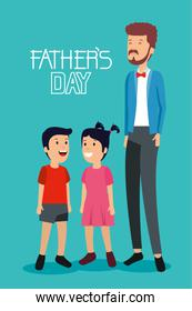 man with his son and daughter to fathers day