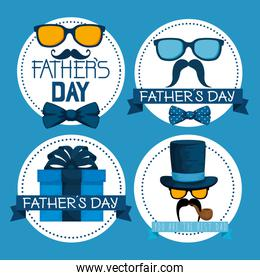 set label with glasses and mustache to fathers day