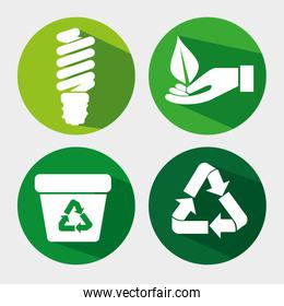 set ecology save bulb with recycle trash and leaf