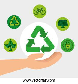 hand with ecology recycle and conservation element