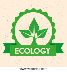 ecology label with tree conservation and ribbon