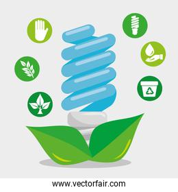 save bulb with leaves and ecology element