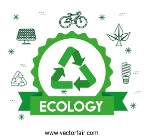 ecology label with recycle sign and ribbon