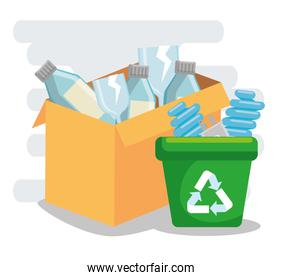 box and recycle trash with plastic bottles and save bulbs