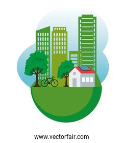 house and building with solar energy and bicycle