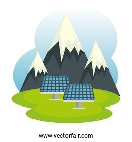 ecology snowy mountains and solar energy