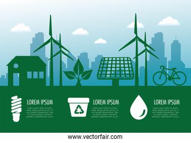 ecology banner with wind and solar sustainable energy
