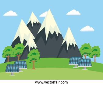 ecology snowy mountains with trees and solar energy