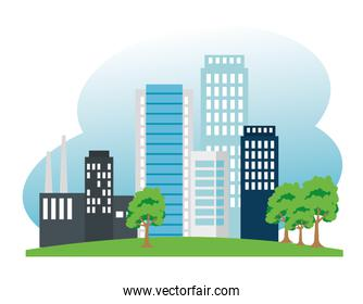 factory and building and trees to ecology conservation