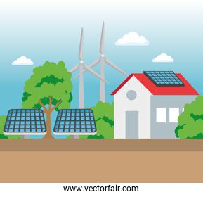 house with solar and wind energy to ecology conservation