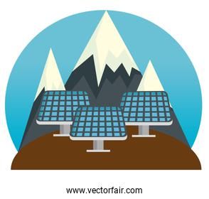 solar energy sustainable and snowy mountains