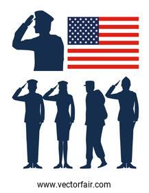 set usa flag with patriotic soldiers
