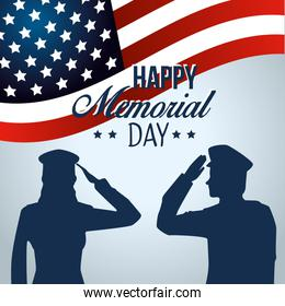 patriotic soldiers with usa flag to memorial day