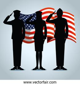 usa flag with patriotic militaries to holiday