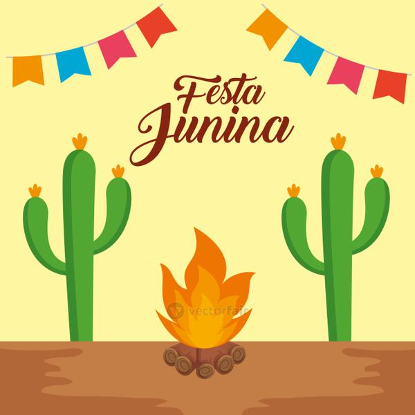 party banner with cactus plant and wood fire