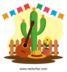 party banner with cactus plant and guitar