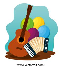 guitar with balloons and accordion to festa junina