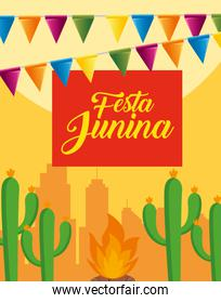 party banner with cactus plants and wood fire