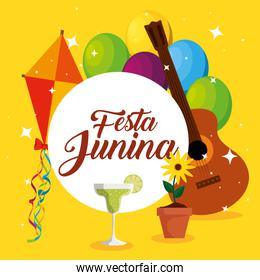 label with kite and guitar decoration to festa junina
