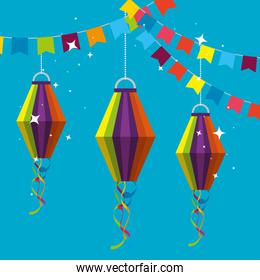 party banner with lanterns hanging to festa junina