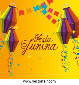 party banner with lanterns decoration to celebration