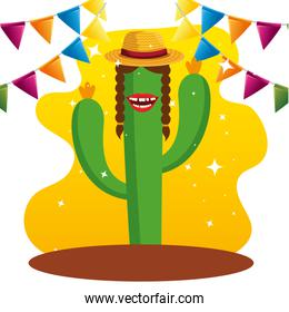 cactus plants wearing hat and party banner