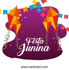 party banner with kites to festa junina