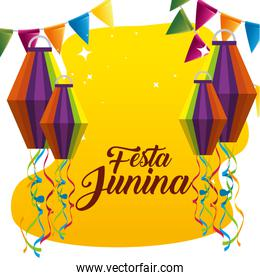 party banner with lanterns to celebrate festa junina
