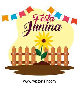 party banner with sunflower plant and wood grillage