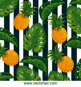 tropical pineapples and nature leaves background
