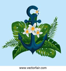 tropical flowers plants with anchor and leaves