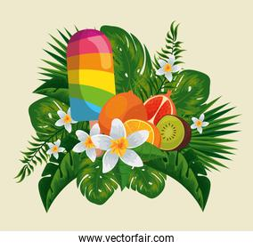 ice lolly with exotic fruits in the flowers and leaves