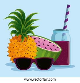 exotic pineapple and watermelon with beverage and sunglasses