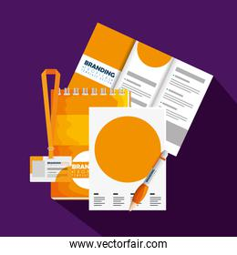 business brochure with business license and paper document