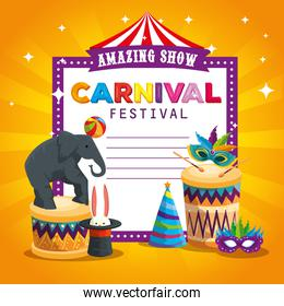 carnival card and elephant playing with ball and drum
