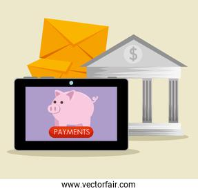 tablet technology with piggy and business banking technology