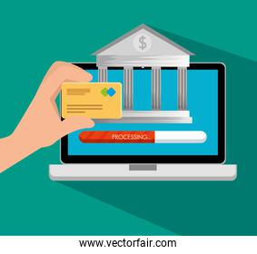 electronic laptop technology with online banking and credit card