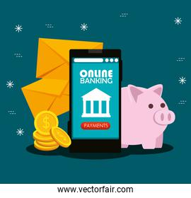 electronic smartphone with online banking technology and coins with piggy